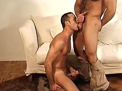 Guys enjoy duo blowjob on the floor daddy gay porn