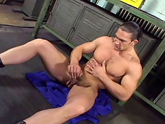 Muscular stud enjoys his cock and cum all over himself daddy gay porn