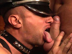 Gay sex action in the dungeon with two hot studs fucking ! daddy gay porn