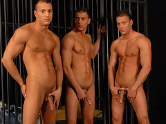 Another photoshoot for the triplets in a false dark prison daddy gay porn